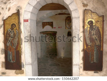 PANAYIA KERA, GREECE-JUNE 2013.Ancient icon from monastery of the Panayia Kera. Crete. Greece.A pair of Sanctuary doors showing the Fathers of the Orthodox Church,St.Basil and St.John the Chrisostom  - stock photo