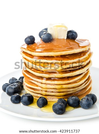 Pancake. Crepes With Berries, and Syrup isolated on a White Background - stock photo