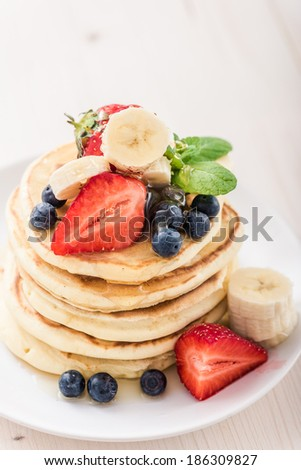 blueberry pancakes with fresh...