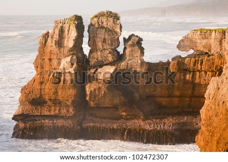 Pancake rock, Grand canyon of New Zealand, located in west coast - stock photo