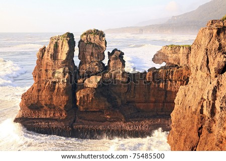 Pancake rock, Grand canyon of New Zealand, located in west coast  in the evening - stock photo