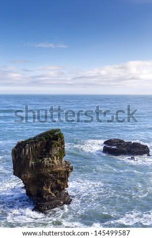 Pancake Rocks at Punakaiki, West Coast, South Island, New Zealand - stock photo