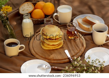 pancake with syrup. - stock photo