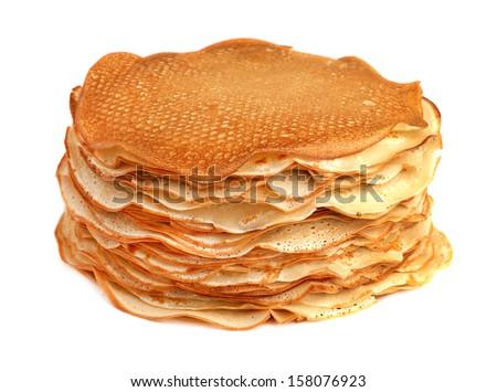 pancakes isolated on white background - stock photo