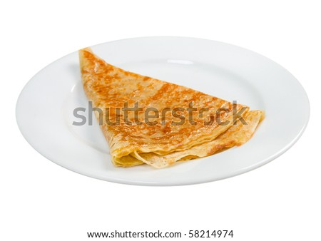 pancakes  on plate.isolated on white background - stock photo