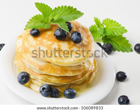 pancakes with blueberries - stock photo