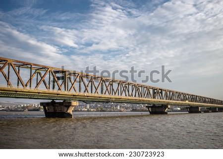 Pancevo bridge in Belgrade, Serbia - stock photo