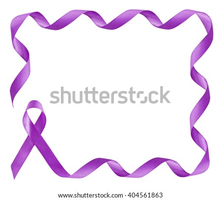 Pancreatic Cancer Awareness Purple Ribbon frame with copy space - stock photo