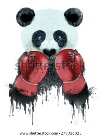 panda illustration,boxer panda,t-shirts graphics,graphic for teens,animal print,panda graphic,cartoon panda,panda pattern,animal poster,animal canvas,fighter panda drawing,boxing poster - stock photo