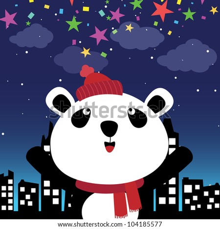 Panda in the city at night - stock photo