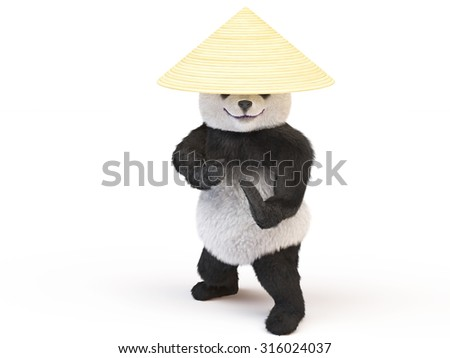 Panda Ninja conical straw hat in a fighting stance was preparing to strike. fighter eastern single combats going to attack. Illustration for the championship of fighting arts or karate school - stock photo