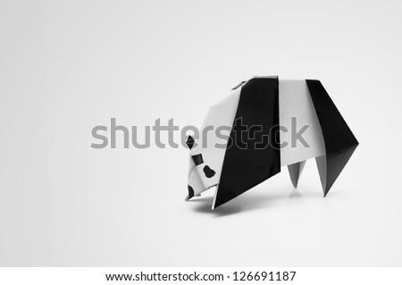 Panda Origami - stock photo