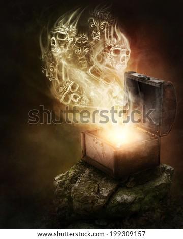 Pandoras box and scull smoke - stock photo