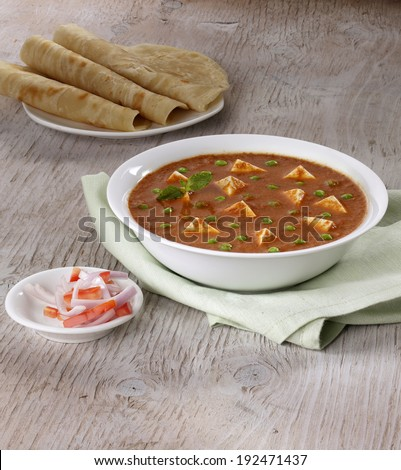 Paneer mutter, Gravy, Indian food, India - stock photo
