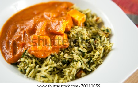 Paneer Tikka Masala with Spinach and Basmati Rice - stock photo