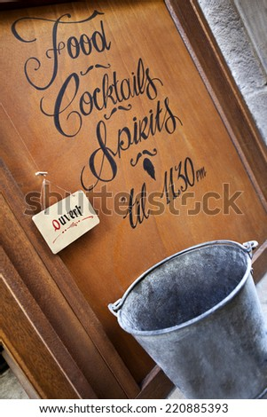 Panel of a French cocktail lounge - stock photo