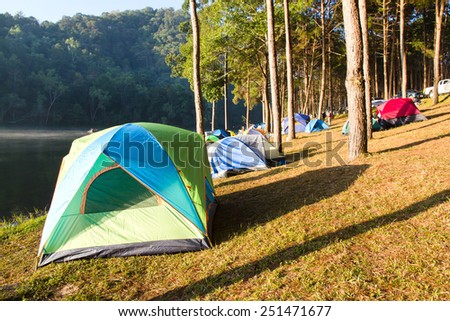 Pang Tong Under Royal Forest Park ( Pang ung ) at Mae Hong Son Province,Thailand.  Pang Ung is a popular place to stay in a camping in the winter.  - stock photo