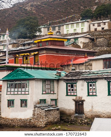 PANGBOCHE, NEPAL - CIRCA OCTOBER 2013: view of the gompa in Pangboche circa October 2013 in Pangboche. - stock photo