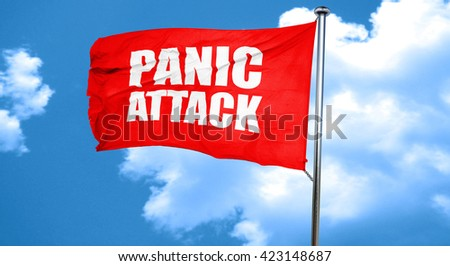 panic attack, 3D rendering, a red waving flag - stock photo