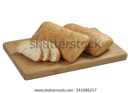 panini bread on the wooden board isolated on white - stock photo