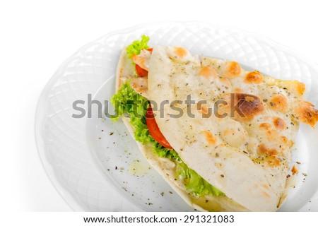 Panini, Sandwich, Grilled. - stock photo