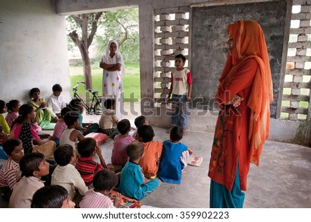 PANIPAT, HARYANA, INDIA - Aug 2 2010: A classroom at a rural school in northern India. - stock photo