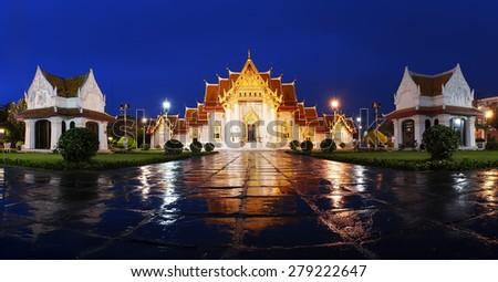 Panonrama of The Marble Temple, Wat Benchamabopitr Dusitvanaram Bangkok THAILAND - stock photo