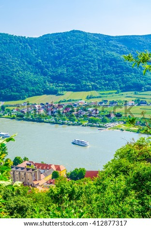 panorama aerial view of Durnstein village situated in wachau valley in Austria - stock photo