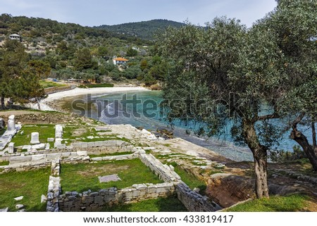 Panorama and olive tree to Archaeological site of Aliki, Thassos island,  East Macedonia and Thrace, Greece - stock photo