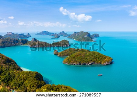Panorama Ang Thong National Marine Park islands. Sleeping Cow Island, Three Pillars Island, Ko Wua, Talap Buaboke Cave, Ko Paluay. Thailand - stock photo