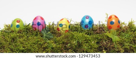 Panorama banner of Easter Eggs - stock photo