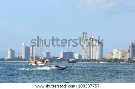 Panorama beach with Jet boat, Pattaya, Thailand - stock photo