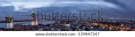 Panorama  Bridge in Bangkok of Thailand - stock photo