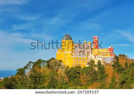 Panorama castle pity. Against the background of the ocean. Sintra Portugal. - stock photo