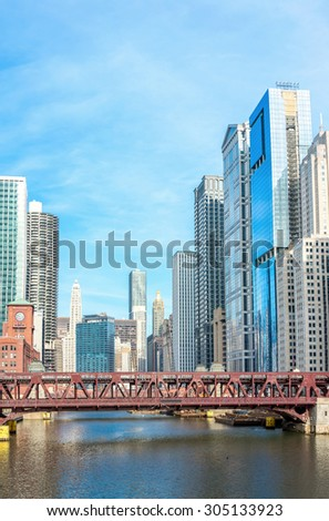 Panorama Chicago downtown and River with bridges - stock photo