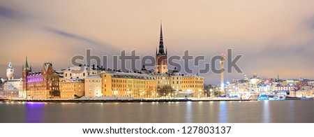 Panorama Cityscape of Gamla Stan Old Town Stockholm city at Night Sweden - stock photo