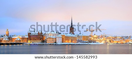 Panorama Cityscape of Stockholm Sweden at dusk - stock photo
