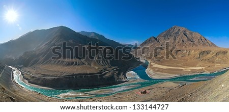 Panorama confluence of the Indus and Zanskar - stock photo