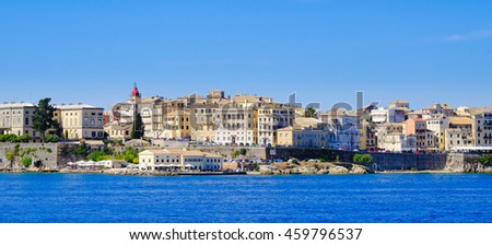Panorama Corfu town from the sea. Old town buildings of Kerkyra island - stock photo