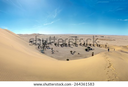 Panorama cozy oasis near the Dune #7 in Sossusvlei plato of Namib Naukluft National Park - Namibia, South Africa - stock photo