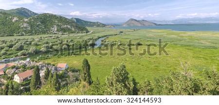 panorama Crmnica River flows in Lake Skadar, Montenegro - stock photo