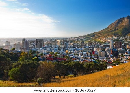 Panorama - Dawn in Cape Town city (South Africa) - stock photo
