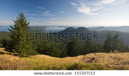 Panorama from atop Mount Constitution on Orcas Island in the San Juan Islands of Washington - stock photo