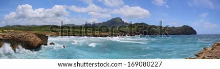 Panorama from mahaulepu trail near  Poipu, Kauai , hawaii - stock photo