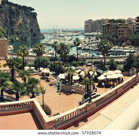 Panorama from port Font Vieil , Monaco - stock photo
