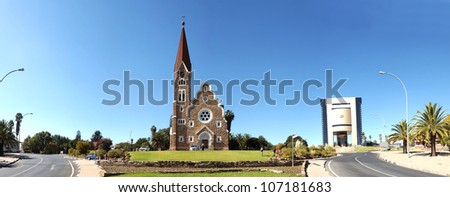 Panorama from six photos of Windhoek, Namibia - stock photo