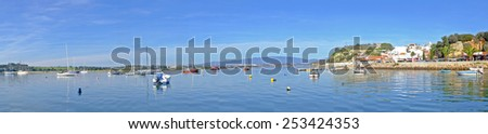 Panorama from the harbor and village Alvor in Portugal - stock photo