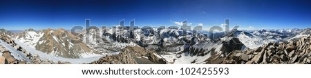 panorama from the summit of Mount Rixford in the Sierra Nevada Mountains of California - stock photo