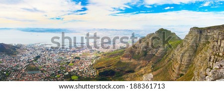 Panorama from the top of Cape Town Table Mountain (South Africa) on a bright sunny day - stock photo