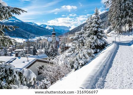 Panorama hiking pass above Davos, Switzerland. - stock photo